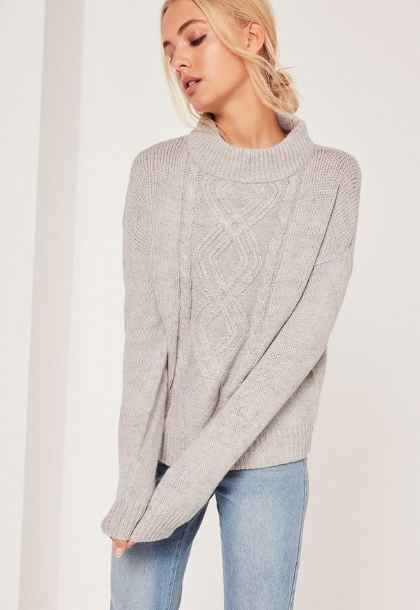 Turtle Neck Cable Jumper Grey