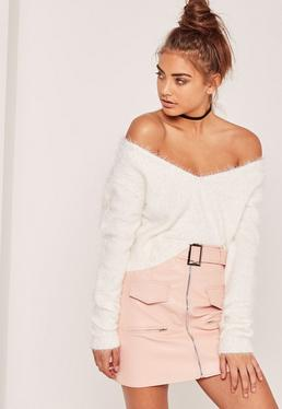 White Fluffy Tab Back Cropped Sweater