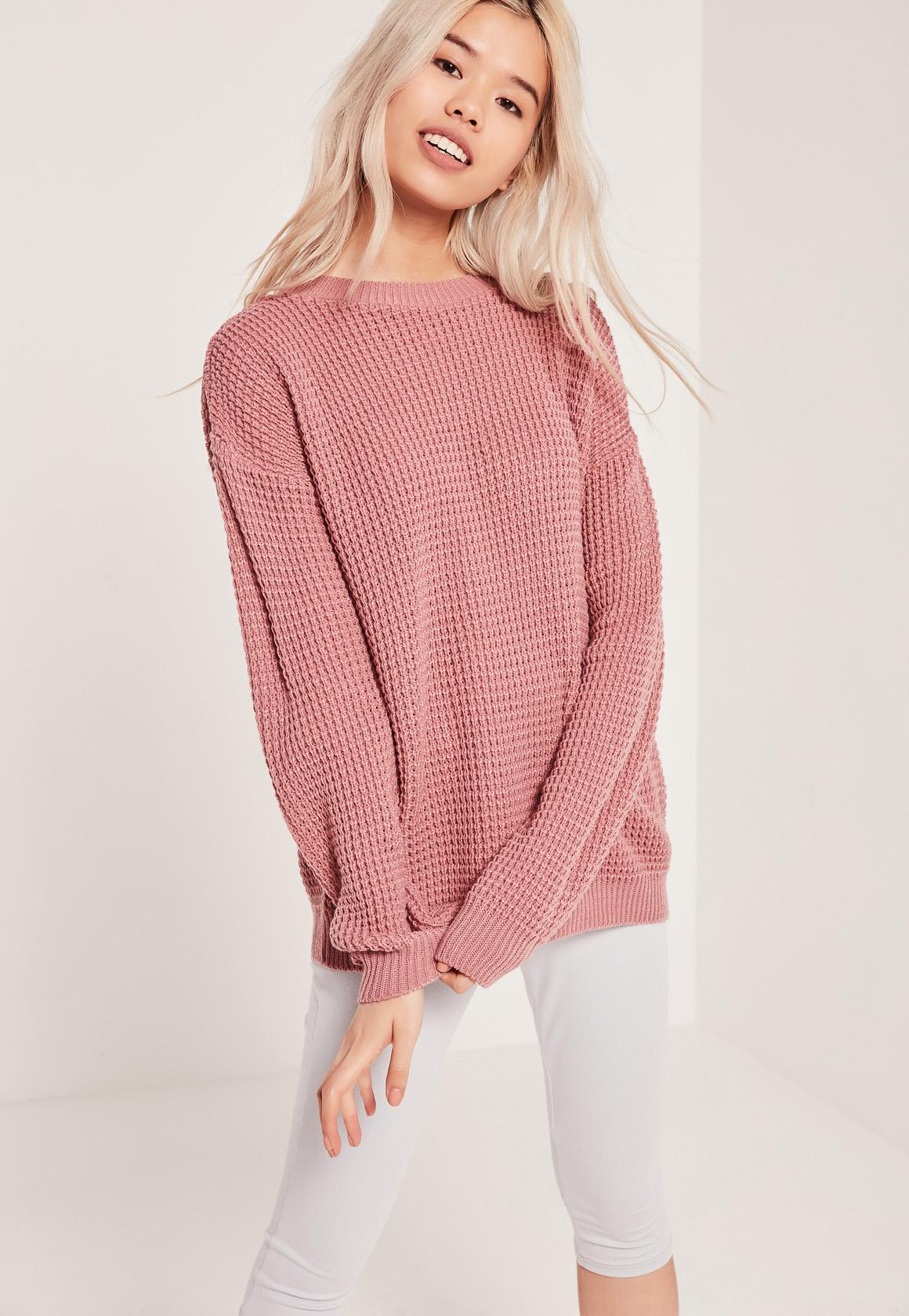 Pink Waffle Knit Crew Neck Sweater | Missguided