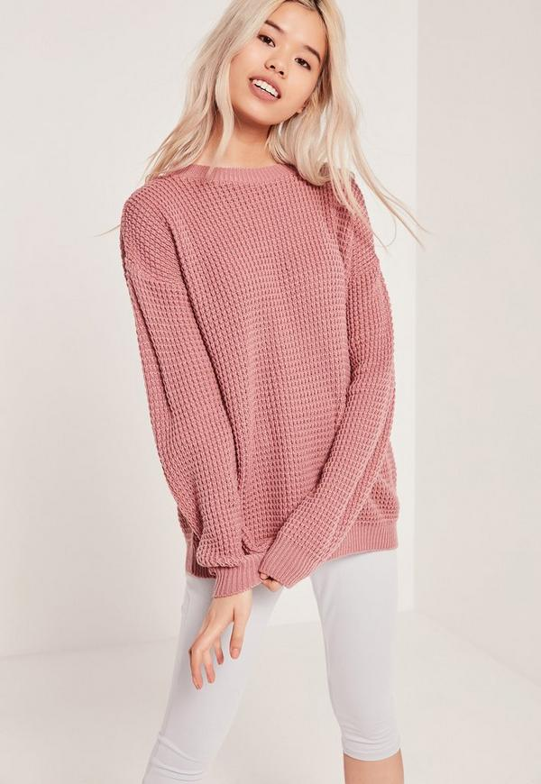 Waffle Knit Crew Neck Jumper Pink
