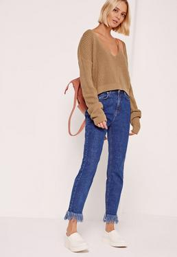 Nude V-Neck Slouchy Cropped Sweater