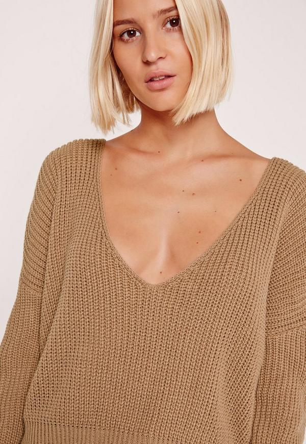 Nude V-Neck Slouchy Cropped Sweater | Missguided