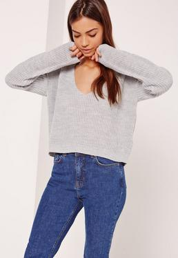 Grey V-Neck Slouchy Crop Sweater
