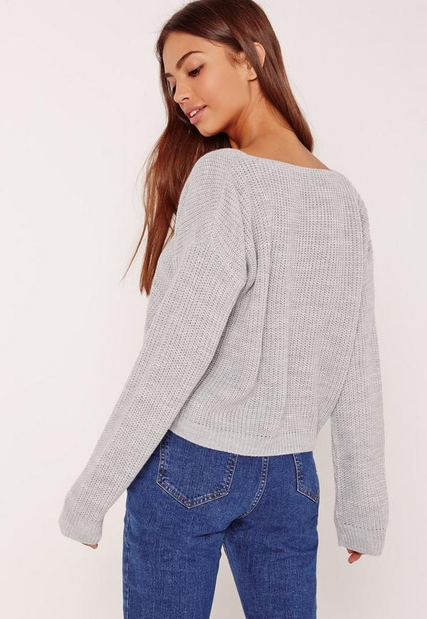Grey V-Neck Slouchy Crop Sweater | Missguided