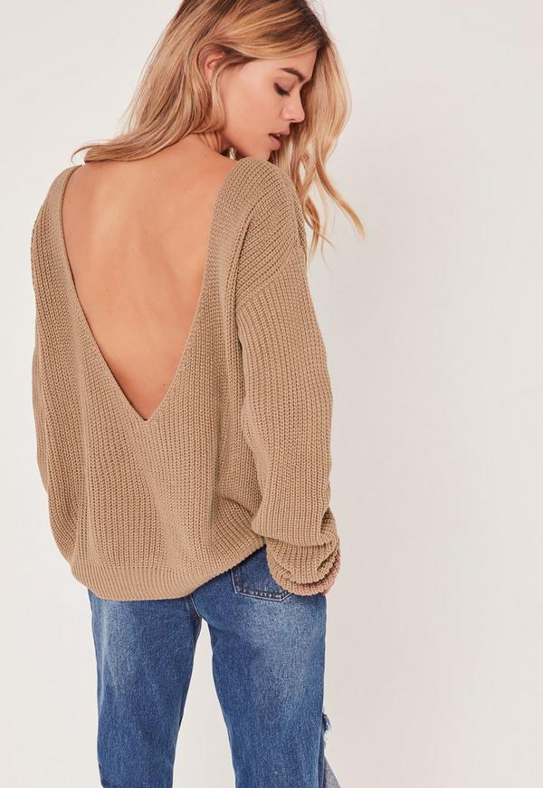 V-Neck Back Basic Jumper Nude