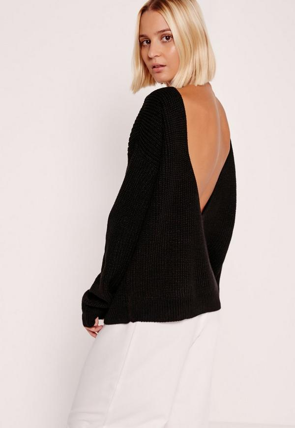 V-Neck Back Basic Jumper Black