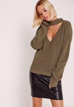 Brown V-Neck Line Choker Sweater