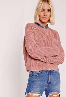 Pull rose à col rond et détails fashion