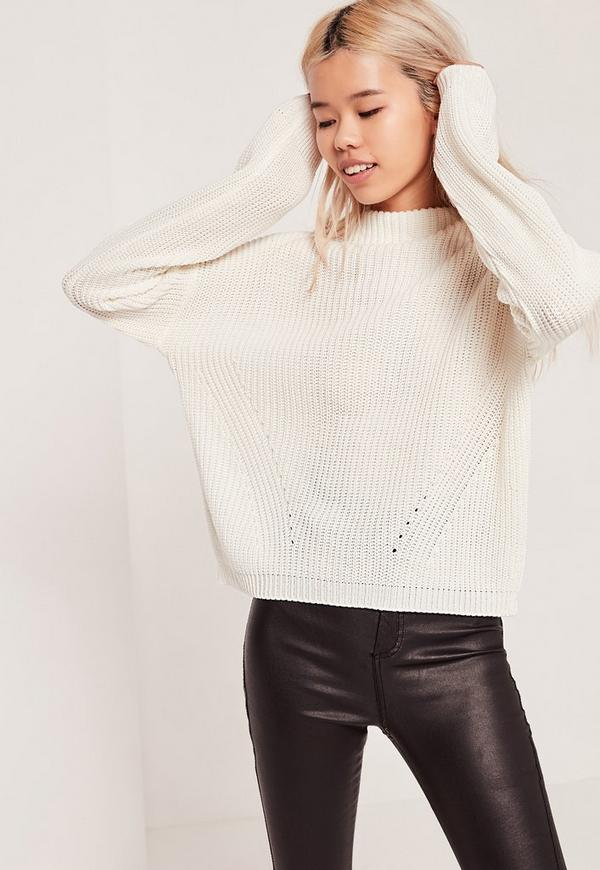 High Neck Jumper White
