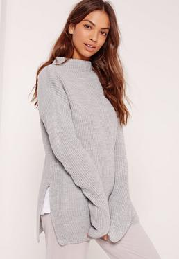Grey Side Split High Neck Sweater
