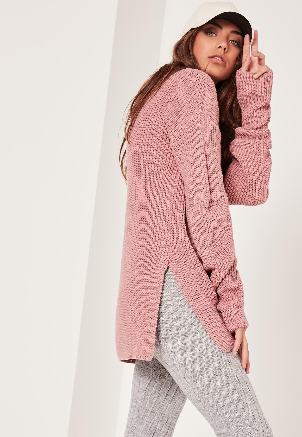 Pink Side Split High Neck Sweater | Missguided