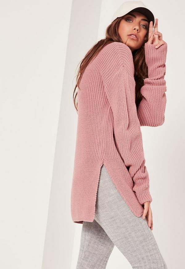 Side Split Jumper High Neck Pink