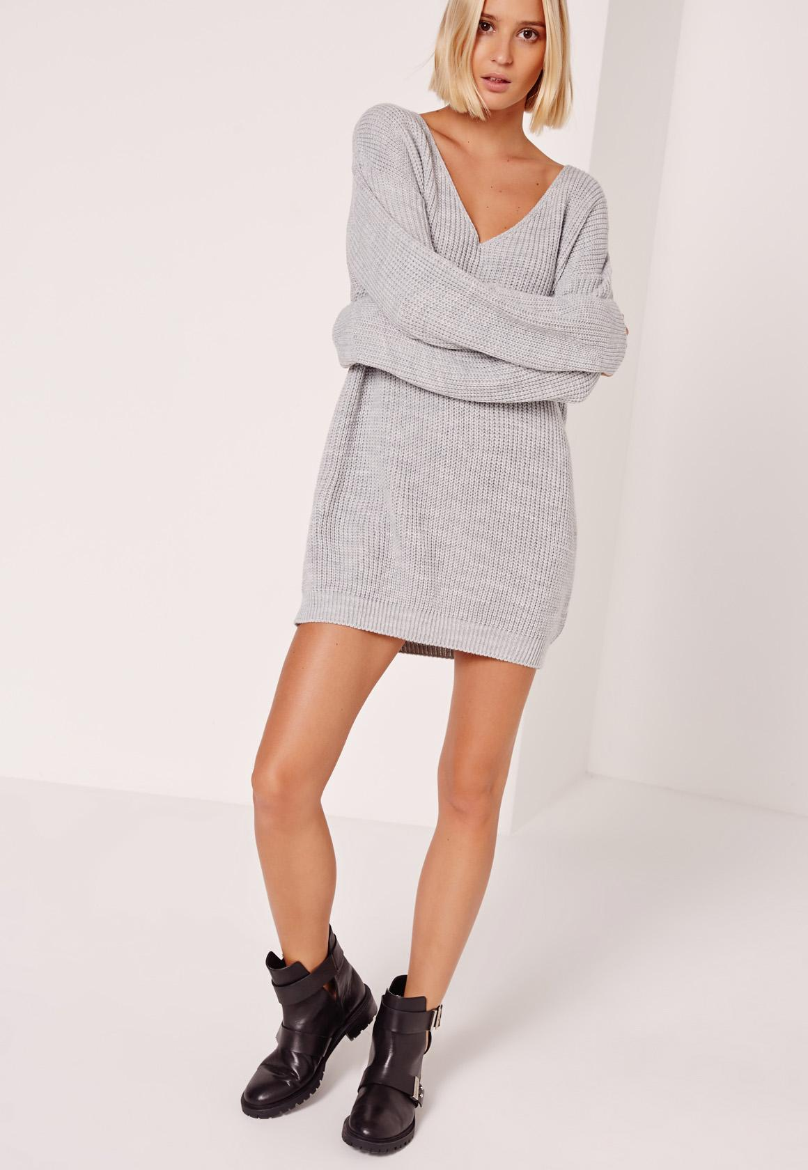 Grey V Neck Slouch Mini Sweater Dress   Missguided