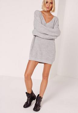 Grey V Neck Slouch Mini Sweater Dress