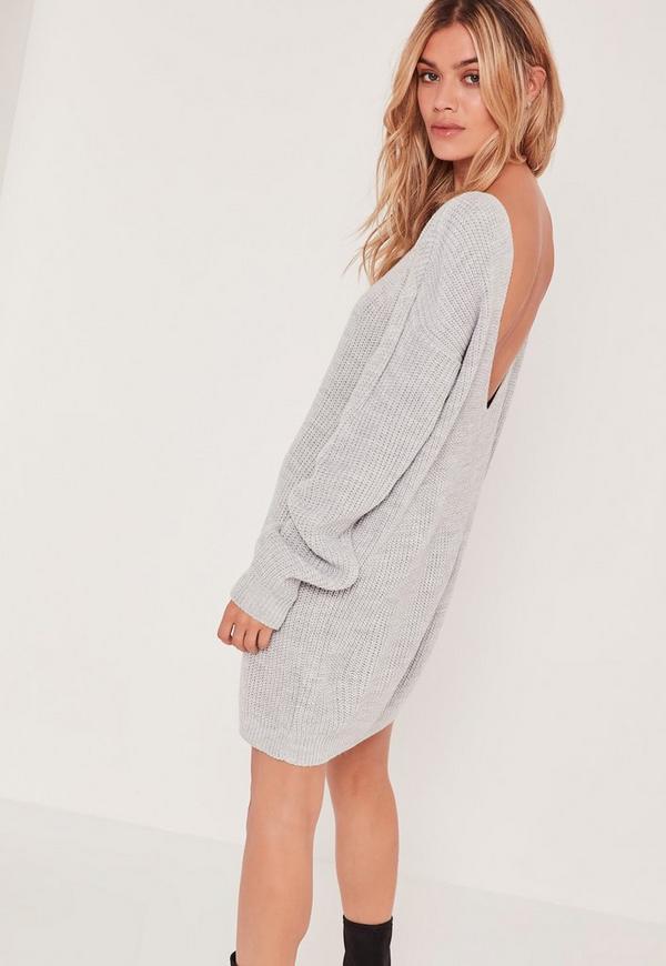 V Back Ribbed Mini Dress Grey