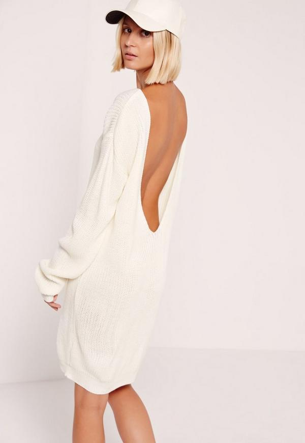 robe pull blanc cr me dos chancr missguided. Black Bedroom Furniture Sets. Home Design Ideas