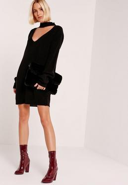Black Choker Neck Mini Jumper Dress
