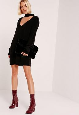 Black Choker Neck Mini Jumper Dress