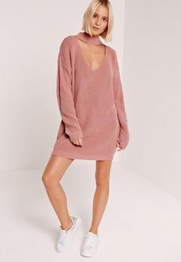 Pink Choker Neck Slouchy Sweater Dress