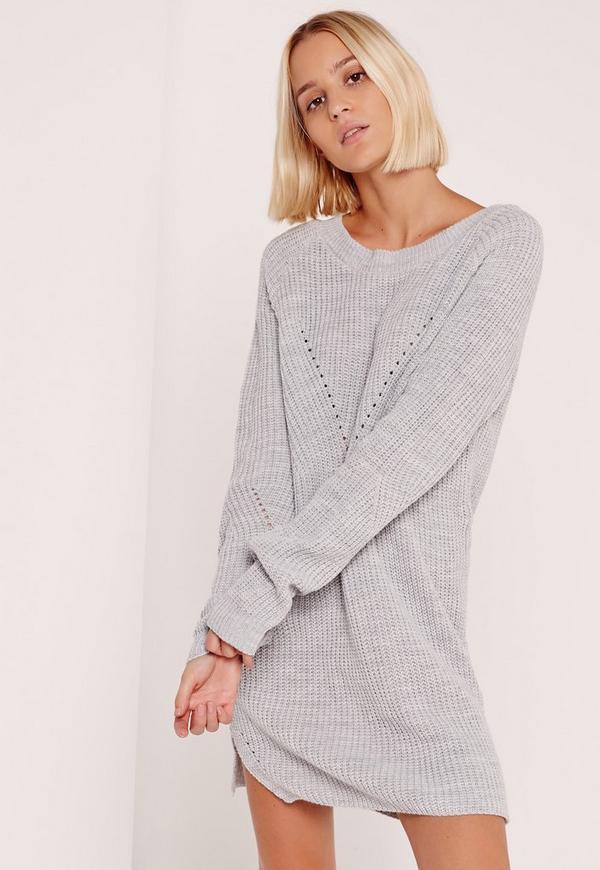 Crew Neck Knitted Mini Dress Grey