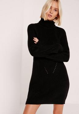 Black Roll Neck Mini Sweater Dress