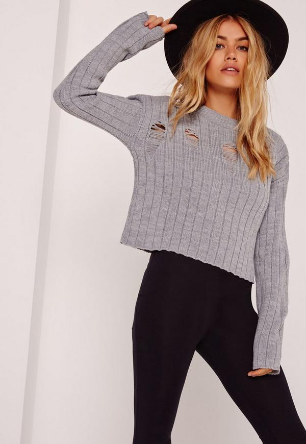 Distressed  Cropped Jumper Grey