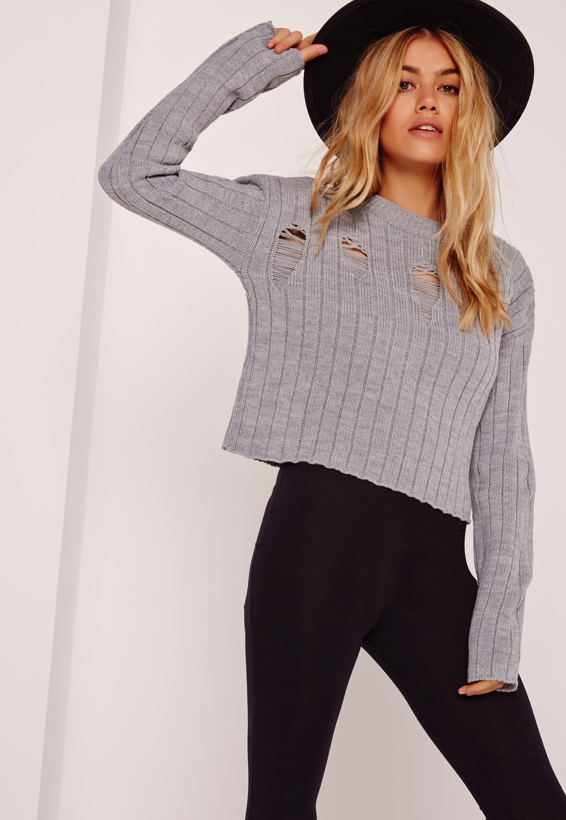 Grey Distressed Cropped Sweater | Missguided