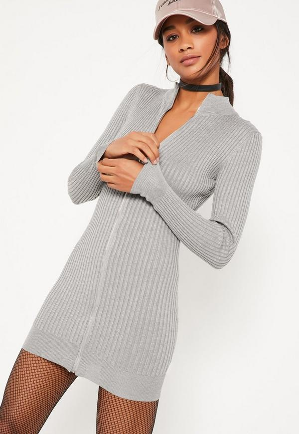 Grey Zip Up Ribbed Mini Jumper Dress