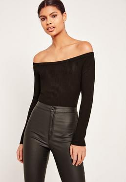 Long Sleeve bardot bodysuit Black