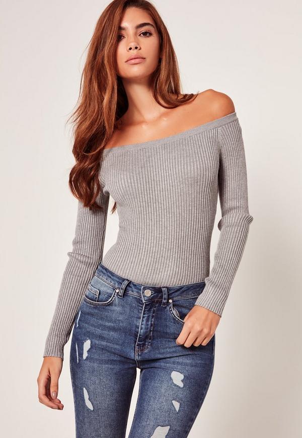 Long Sleeve Bardot Bodysuit Grey