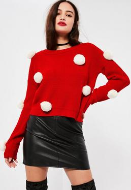 Red With White Pompoms Christmas Sweater