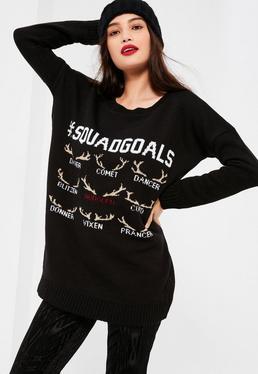 Pull de Noël noir Squad Goals