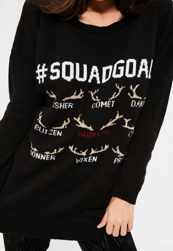 black squad goals christmas sweater missguided - Black Christmas Sweater