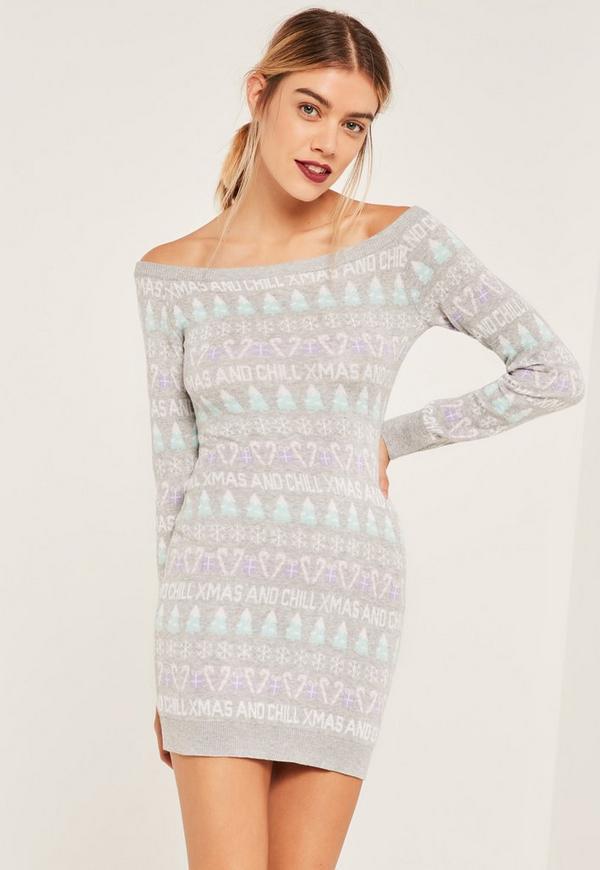 Grey Xmas And Chill Christmas Jumper Dress Grey