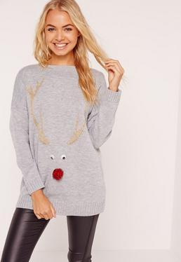 Grey Reindeer Christmas Sweater