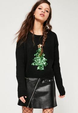 Jersey con árbol de navidad de lentejuelas en negro