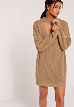 Brown Choker Neck Slouchy Mini Sweater Dress