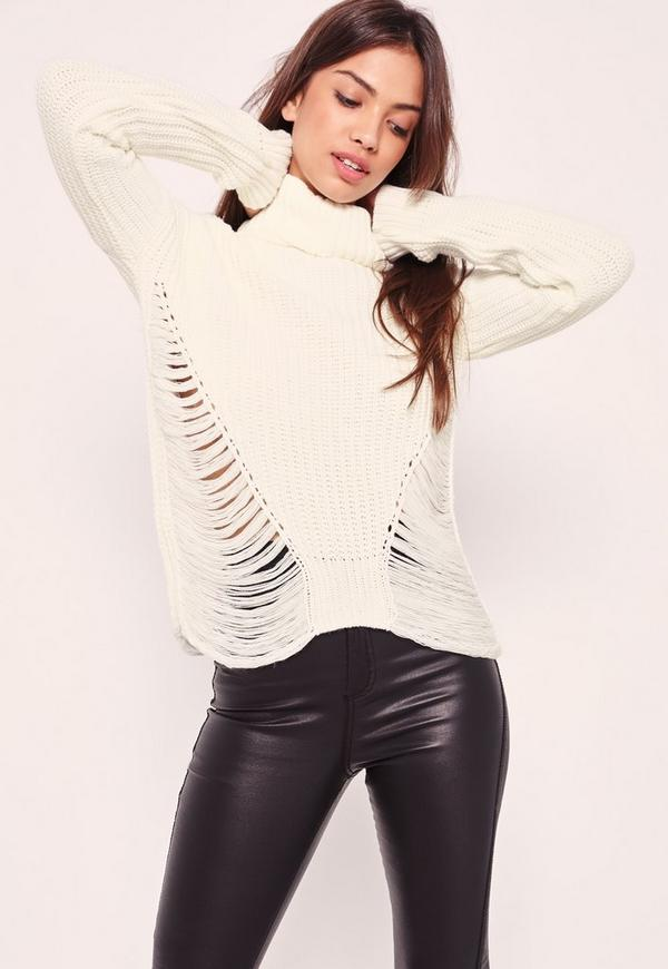 Roll Neck Distressed Crop Jumper Cream