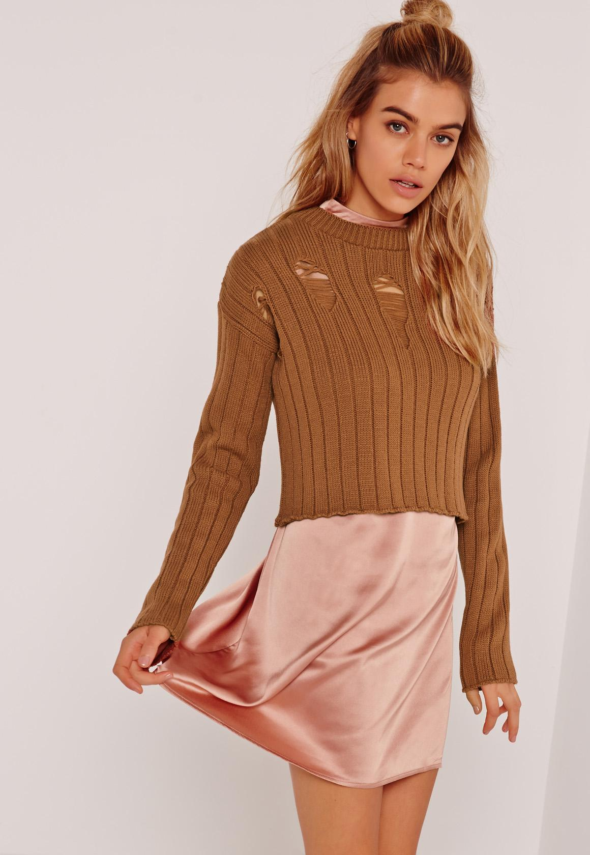 Brown Distressed Cropped Sweater | Missguided