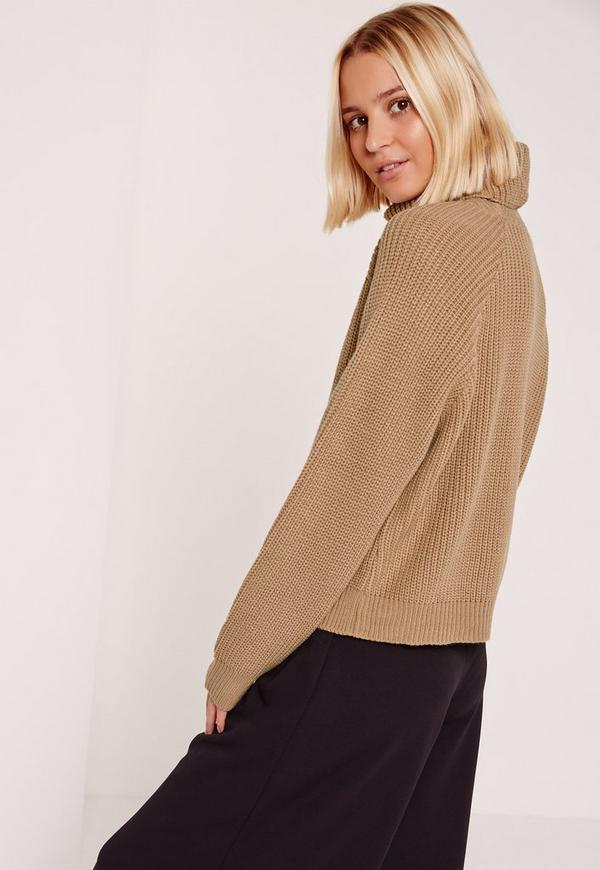 Brown Roll Neck Cropped Sweater | Missguided