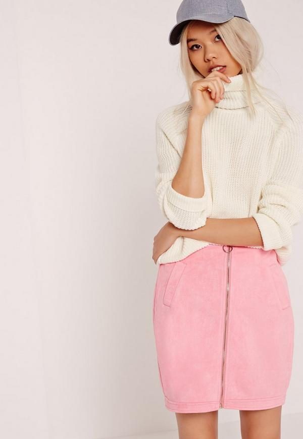 Roll Neck Crop Jumper White