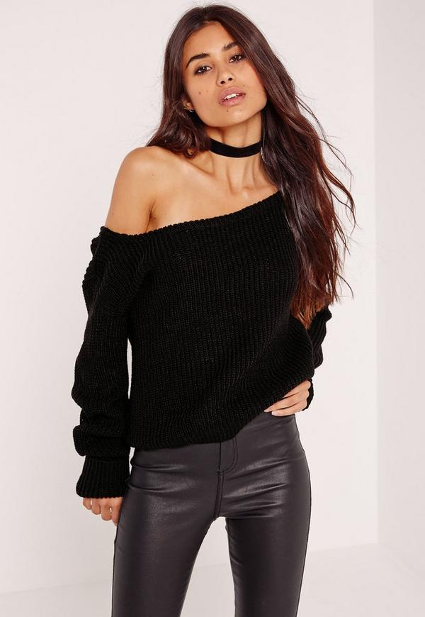 Black Off Shoulder Cropped Sweater | Missguided