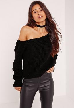 Black Off Shoulder Cropped Sweater