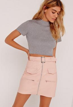 Basic Rib Short Sleeve Crop Grey