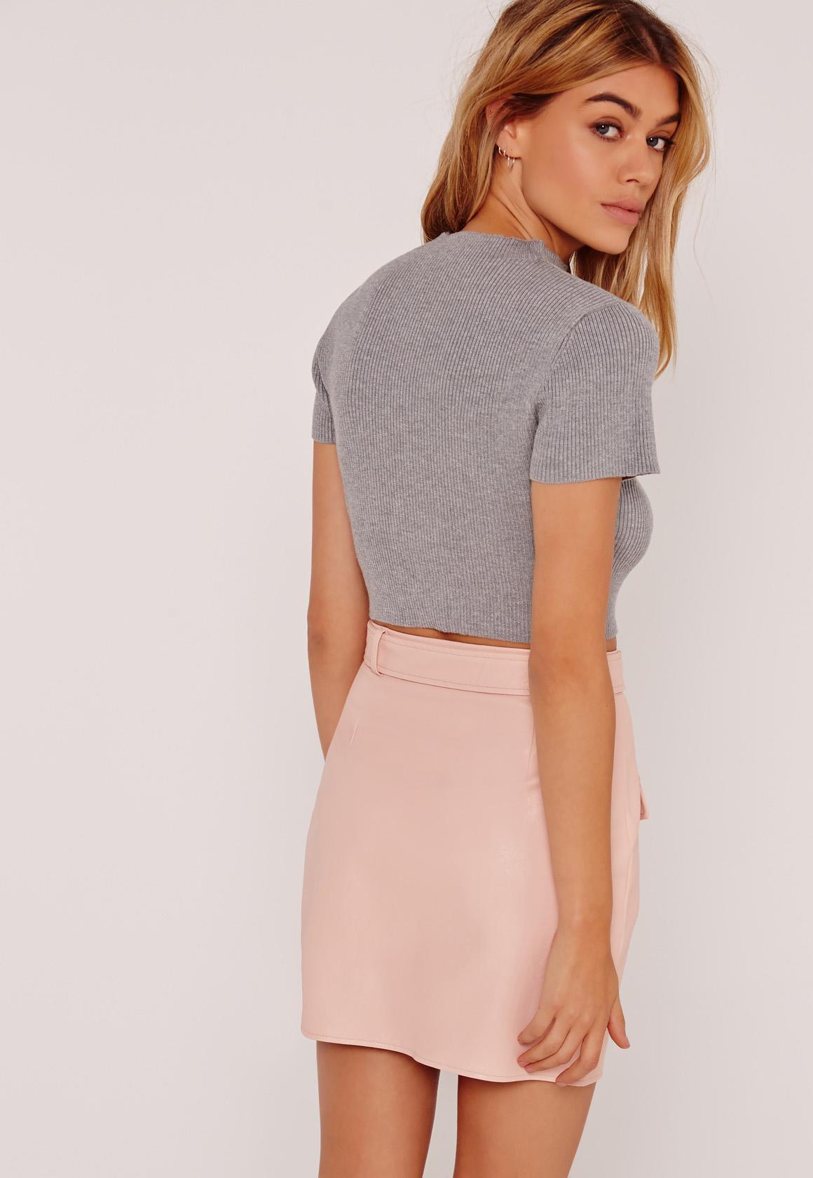 Basic Rib Short Sleeve Crop Grey