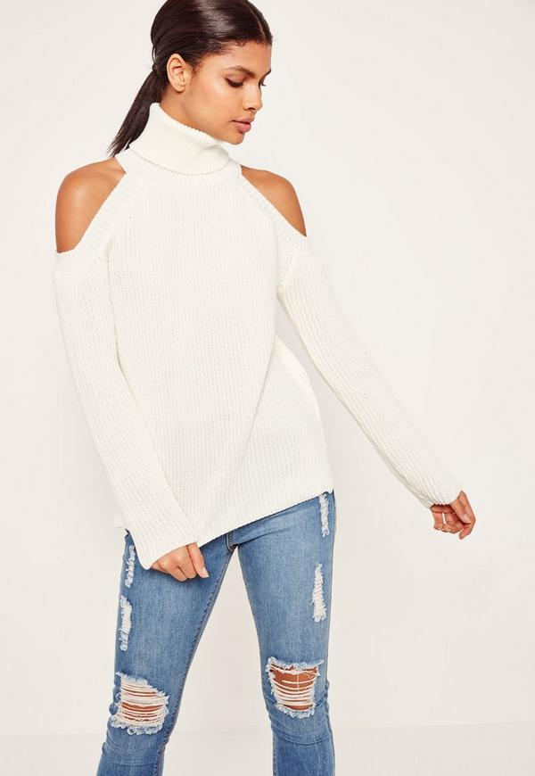 Chunky Cold Shoulder Jumper Cream