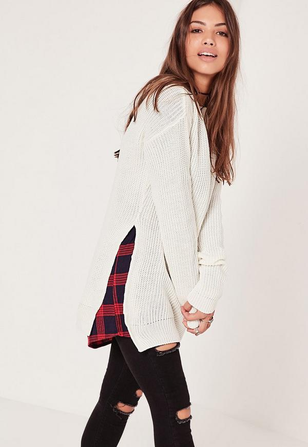 Side Split Crew Neck Jumper Cream