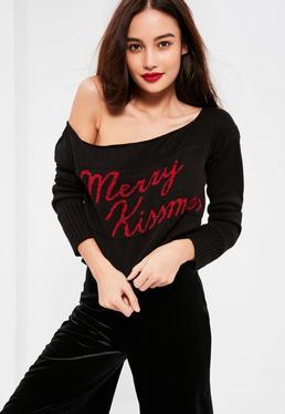 Czarny krótki sweterek świąteczny z nadrukiem Merry Kissmas