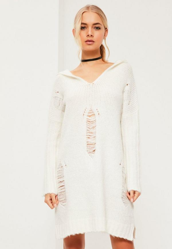 White Distressed Oversize Hooded Sweater Dress | Missguided
