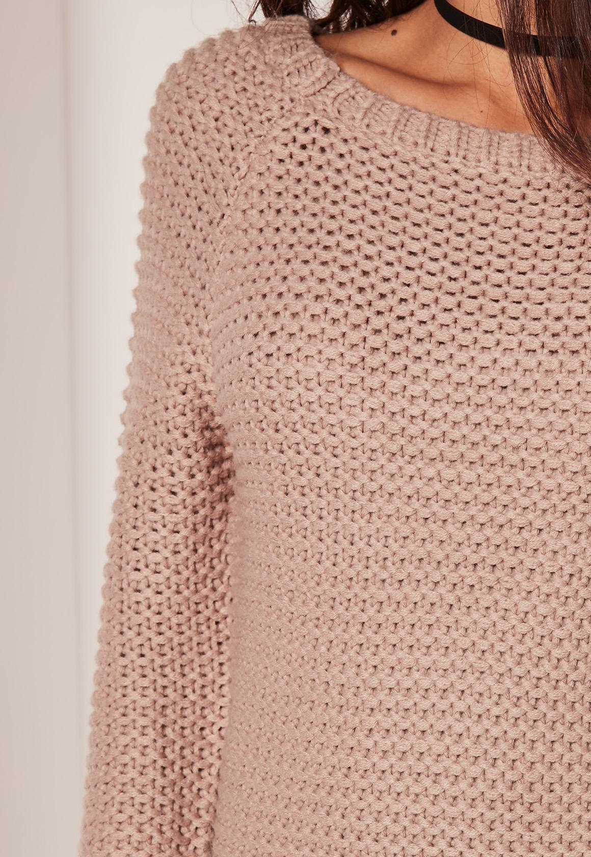Nude Back Detail Mini Sweater Dress